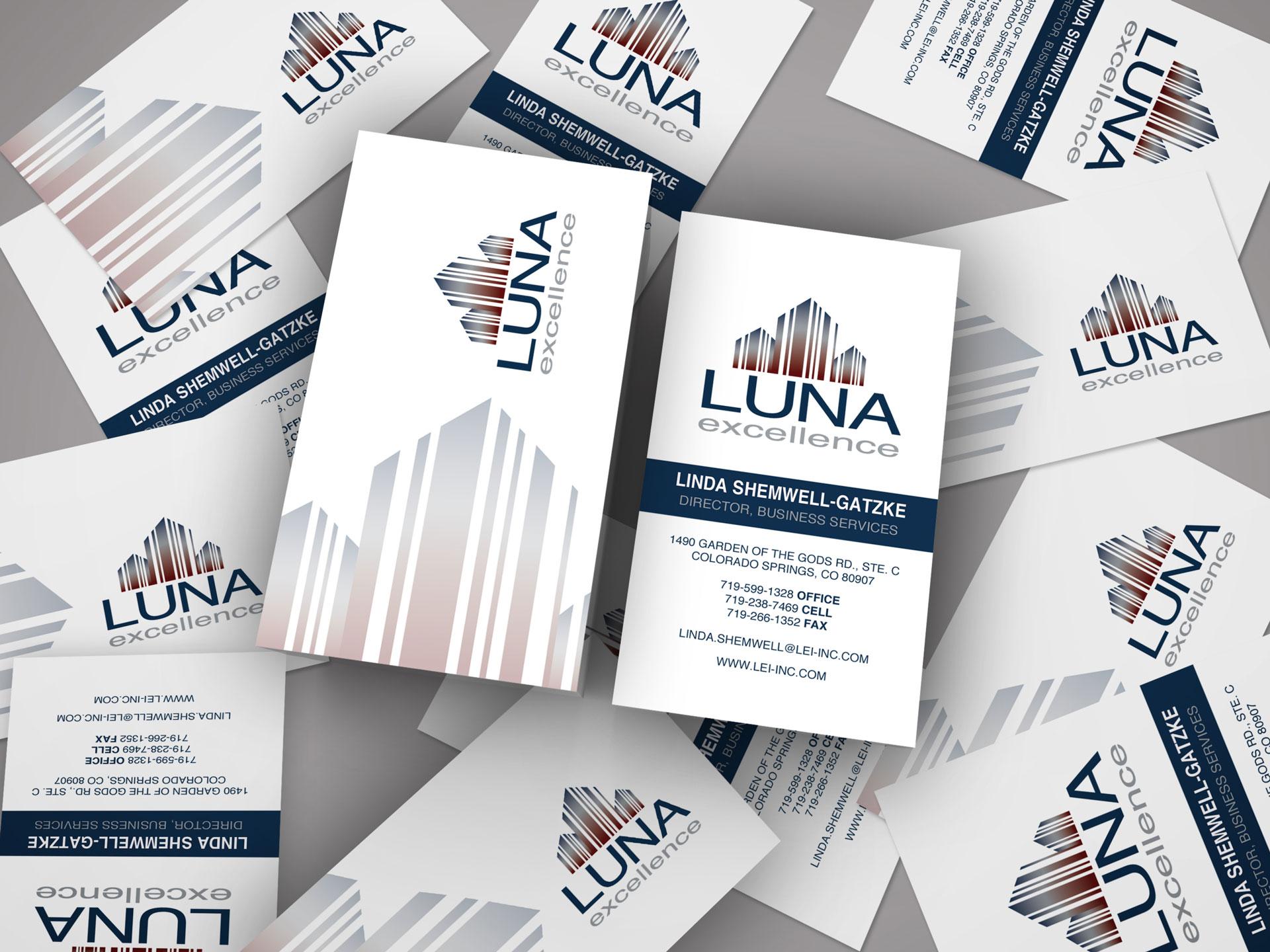 Business card design for Luna Excellence Inc.