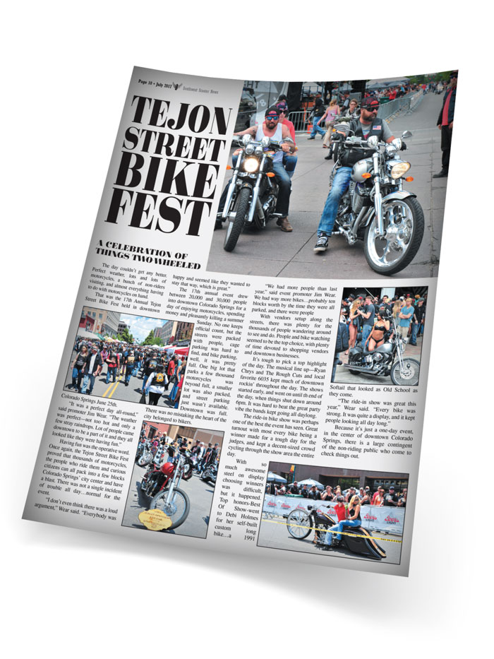 Scooter News Interior page layout for Tejon Bike Fest