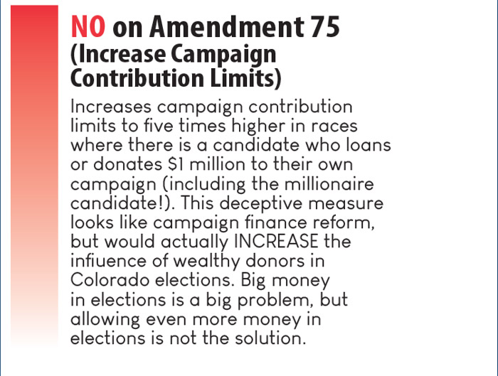 Vote NO on Amendment 75 (Increase Campaign Contribution Limits)